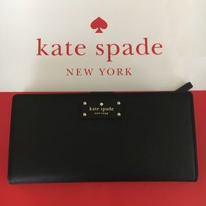 Authentic Kate Spade Large Stacy  Black Wallet